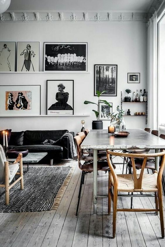 b&w dining room